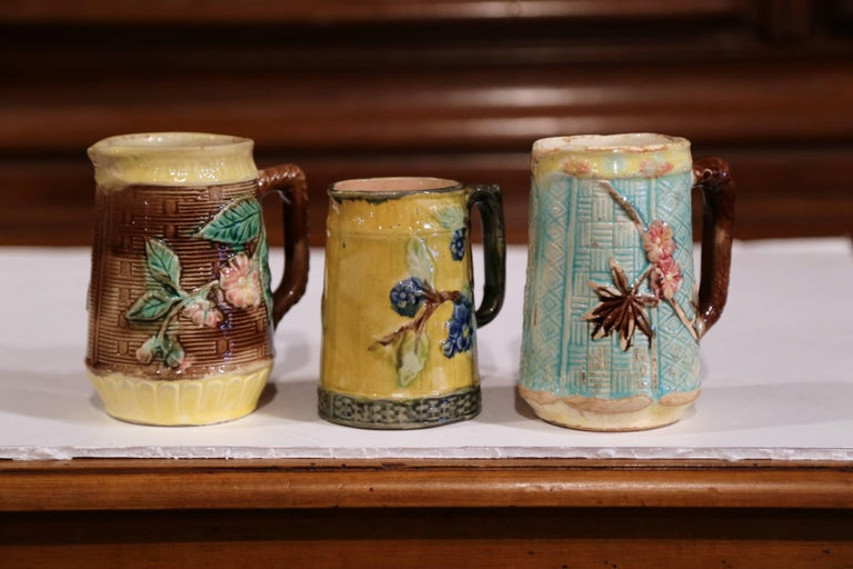 Set of Three French 19th Century Hand-Painted Ceramic Barbotine Pitchers For Sale 1