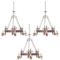 Set of Three French 19th Century Iron Six-Light Chandeliers