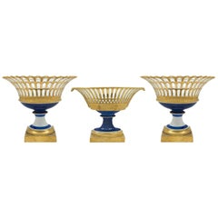 Set of Three French 19th Century Louis XVI St. Garniture Compotes