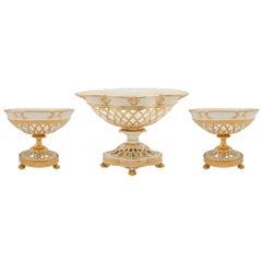 Set of Three French 19th Century Louis XVI Style Porcelain de Paris Centerpiece