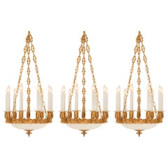 Set of Three French 19th Century Ormolu and Frosted Glass Chandeliers