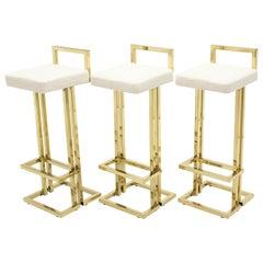 Set of Three French Brass Bouclé Bar Stools by Maison Jansen, 1970s