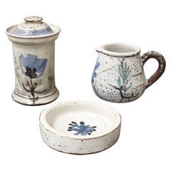 Set of Three French Ceramic Pieces by Gustave Reynaud for Le Mûrier, circa 1950s