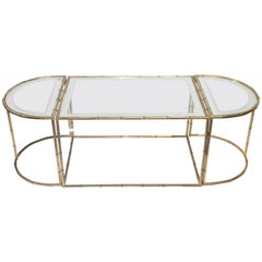 "Set of Three French Coffee Tables ""Bamboo"" Brass by Christofle Collection"