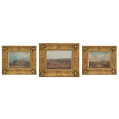 Set of Three French Early 19th Century Watercolors of Parisian Landmarks