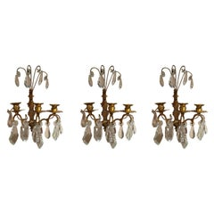 Set of Three French Gilt Metal and Crystal Sconces, 19th Century