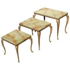Set of Three French Maison Jansen Bronze Onyx Top Nesting Tables, circa 1940s