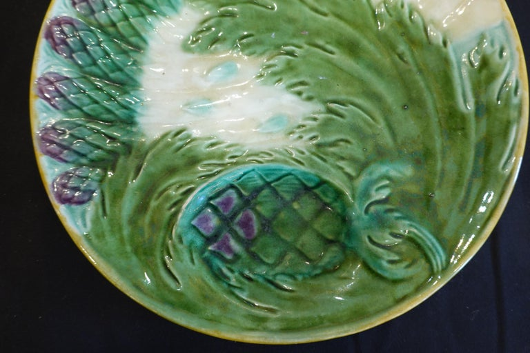 Glazed Set of Three French Majolica Asparagus Plates by Saint Amand For Sale