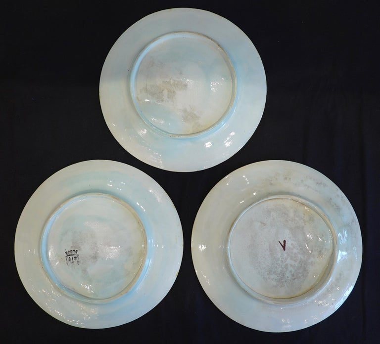 Set of Three French Majolica Asparagus Plates by Saint Amand For Sale 2