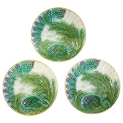 Set of Three French Majolica Asparagus Plates by Saint Amand