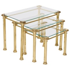 Set of Three French Mid-Century Modern Brass and Glass Nesting Tables by Maison