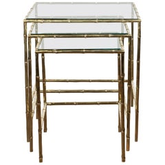 Set of Three French Midcentury Faux-Bamboo Brass and Glass Tops Nesting Tables