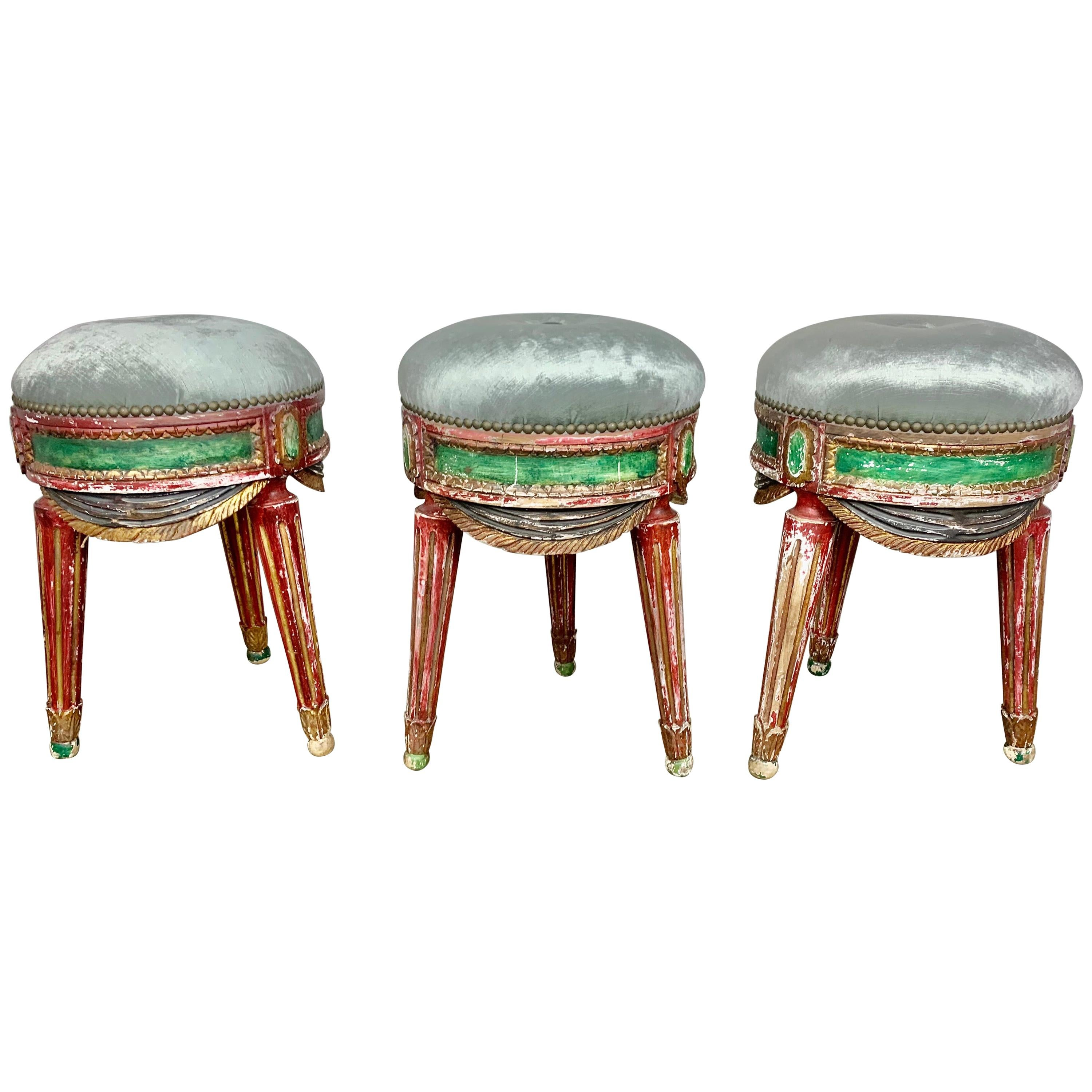 Set of Three French Painted Stools with Swags