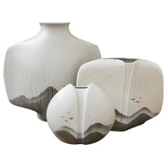 Set of Three French Porcelain Vases by Yves Mohy for Virebent (circa 1970s)