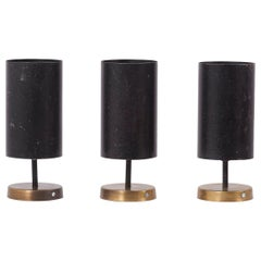 Set of Three French Spots in Brass and Black by Parscot