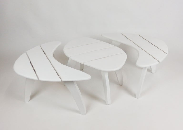 Mid-Century Modern Set of Three Garden Coffee Tables For Sale