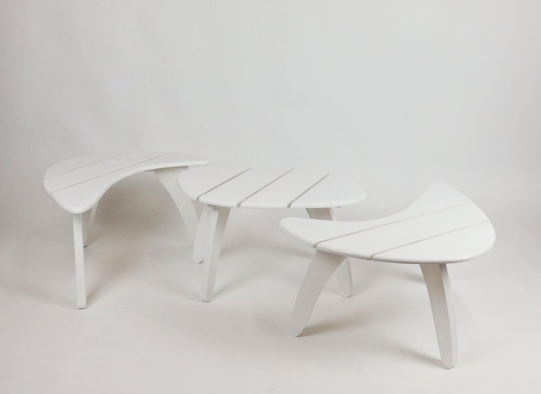 Painted Set of Three Garden Coffee Tables For Sale