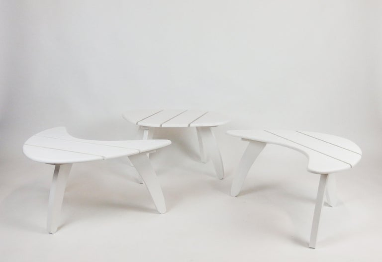 Set of Three Garden Coffee Tables In Good Condition For Sale In Janvry, Essonne