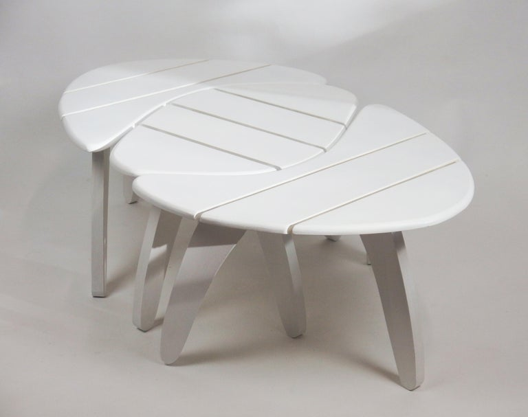 Wood Set of Three Garden Coffee Tables For Sale