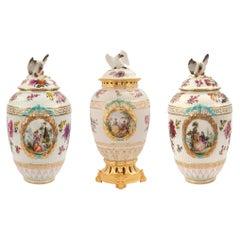 Set of Three German 19th Century KPM Porcelain Garniture Set