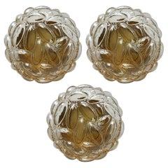 Set of Three German Vintage Amber Bubble Glass Ceiling Wall Lights Flush Mounts