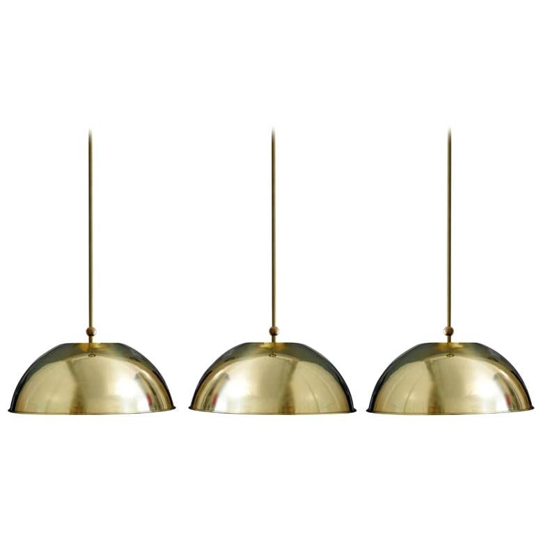 Set of Three German Vintage Huge and Rare Solid Brass Pendant Lights, 1960s