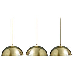 Set of Three German Vintage Huge and Rare Solid Brass Pendant Lights, 1960s