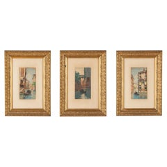 Set of Three Gilded Frames with Watercolors of Venice, 1900s