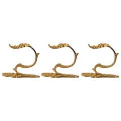 Set of Three Gilt Bronze Curtain Tie-Backs