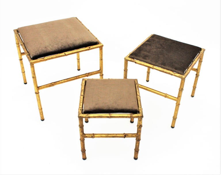 Set of Three Gilt Iron Faux Bamboo Nesting Stools Upholstered in Taupe Velvet For Sale 4
