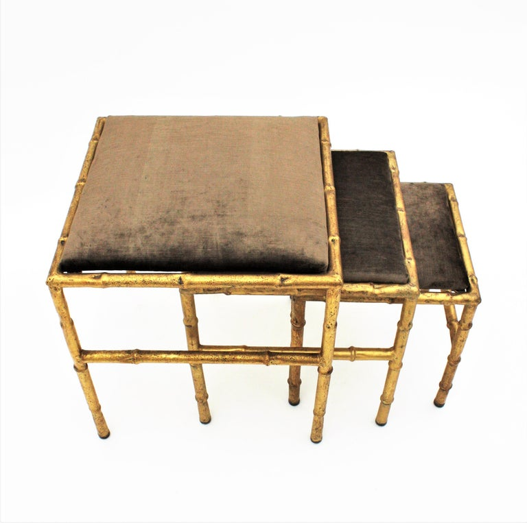 Set of Three Gilt Iron Faux Bamboo Nesting Stools Upholstered in Taupe Velvet For Sale 5