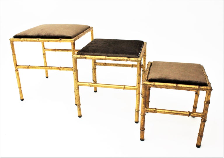 Set of Three Gilt Iron Faux Bamboo Nesting Stools Upholstered in Taupe Velvet For Sale 6