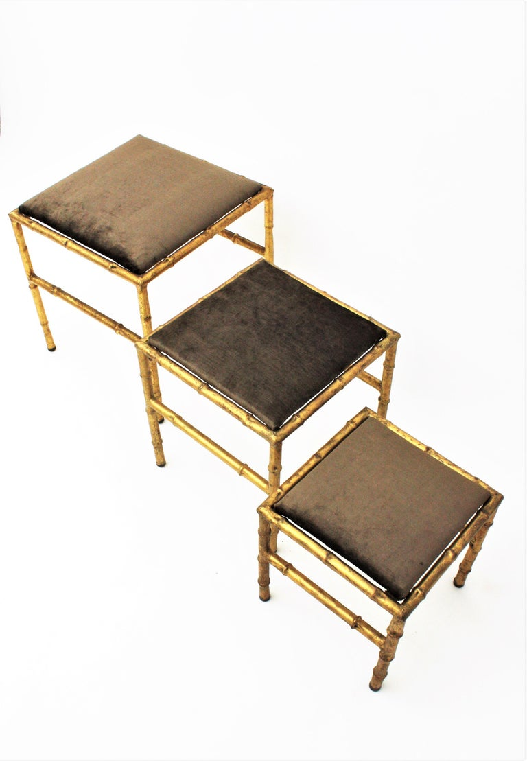 Set of Three Gilt Iron Faux Bamboo Nesting Stools Upholstered in Taupe Velvet For Sale 7