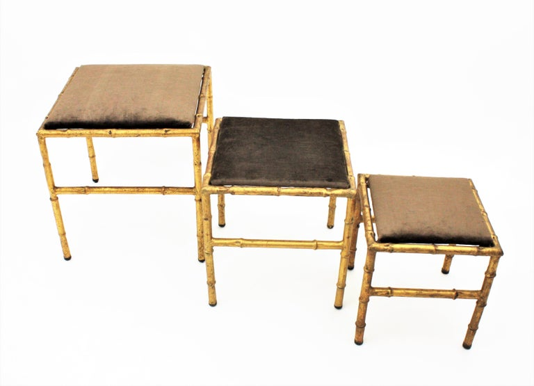Set of Three Gilt Iron Faux Bamboo Nesting Stools Upholstered in Taupe Velvet For Sale 8