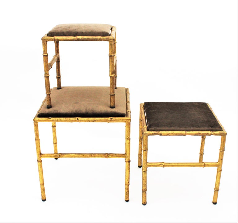 Set of Three Gilt Iron Faux Bamboo Nesting Stools Upholstered in Taupe Velvet For Sale 9