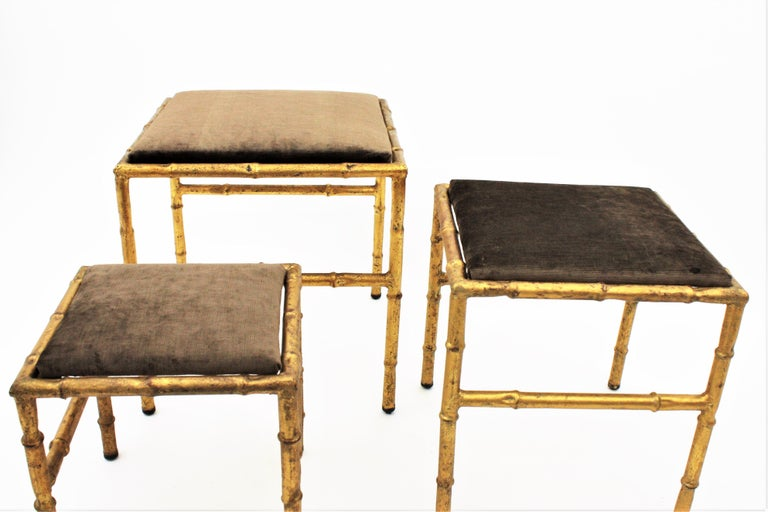 Set of Three Gilt Iron Faux Bamboo Nesting Stools Upholstered in Taupe Velvet For Sale 10