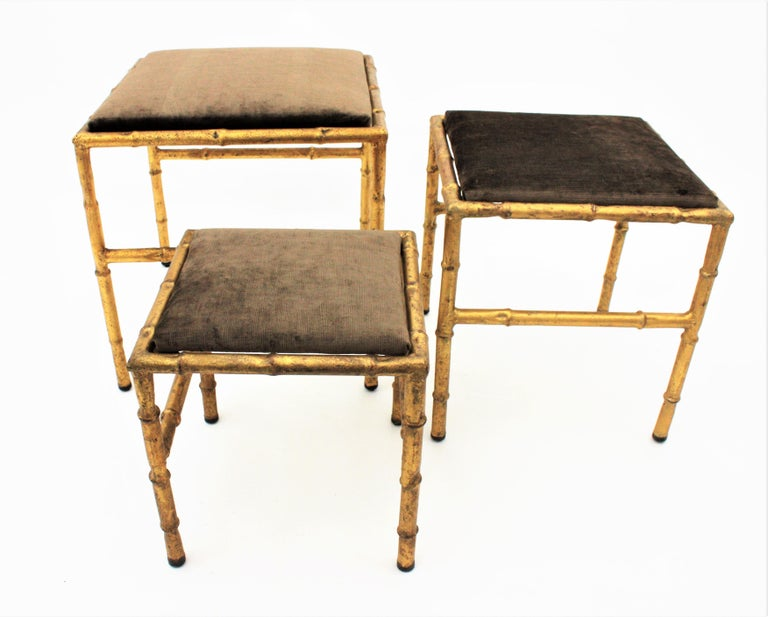 Set of Three Gilt Iron Faux Bamboo Nesting Stools Upholstered in Taupe Velvet For Sale 11