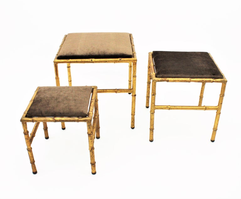Set of Three Gilt Iron Faux Bamboo Nesting Stools Upholstered in Taupe Velvet For Sale 12