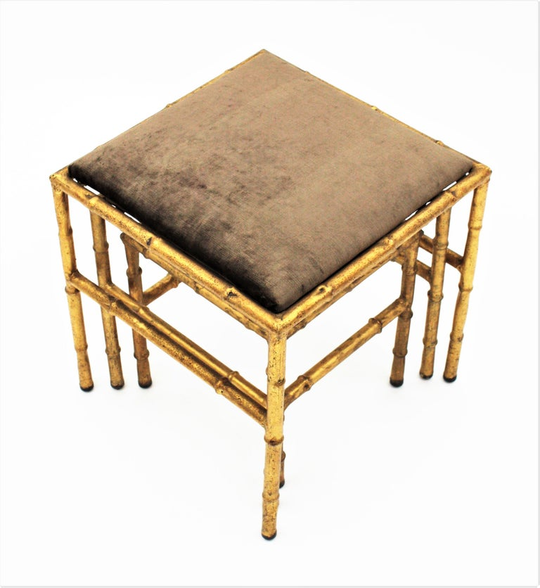 Set of Three Gilt Iron Faux Bamboo Nesting Stools Upholstered in Taupe Velvet For Sale 2