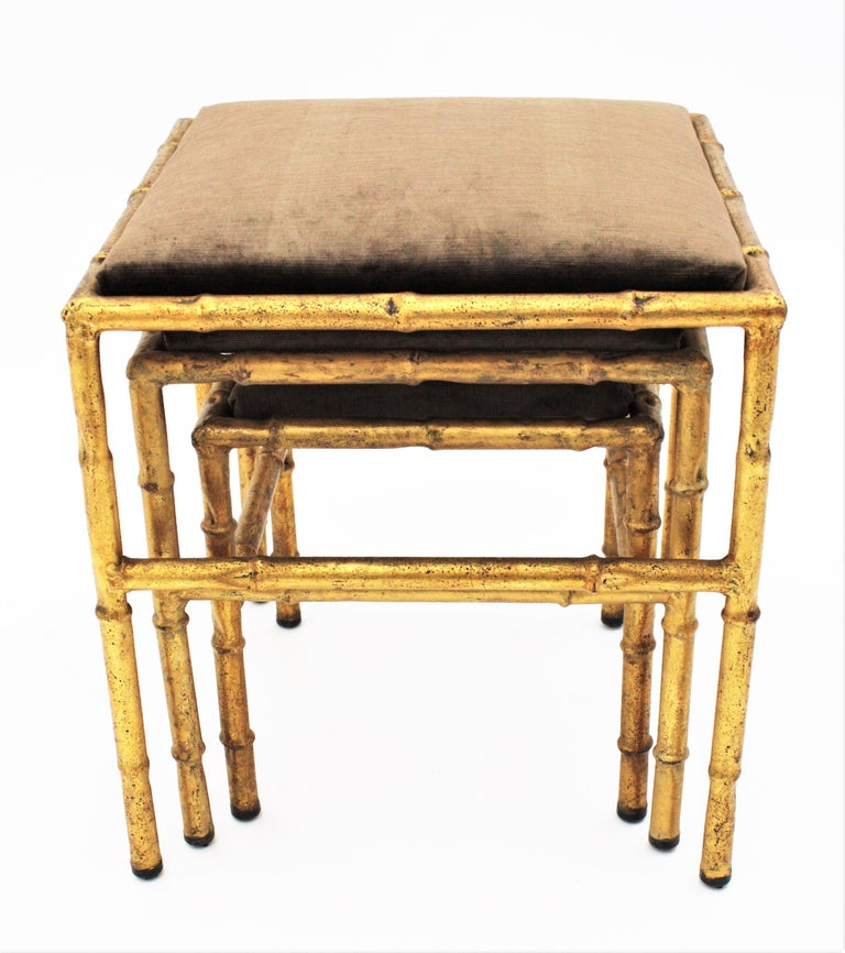 Set of Three Gilt Iron Faux Bamboo Nesting Stools Upholstered in Taupe Velvet For Sale 3