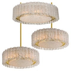 Set of Three Glass Brass Light Fixtures by Doria, 1 Flushmount 2 Chandeliers