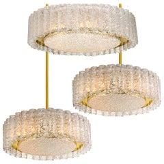 Set of Three Glass Brass Light Fixtures by Doria, 1970s
