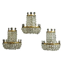 Set of Three Glass Wall Sconces by Lobmeyr, Austria,, circa 1960s