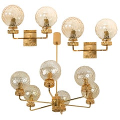 Set of Three Gold-Plated Glass Light Fixtures in the Style of Brotto, Italy