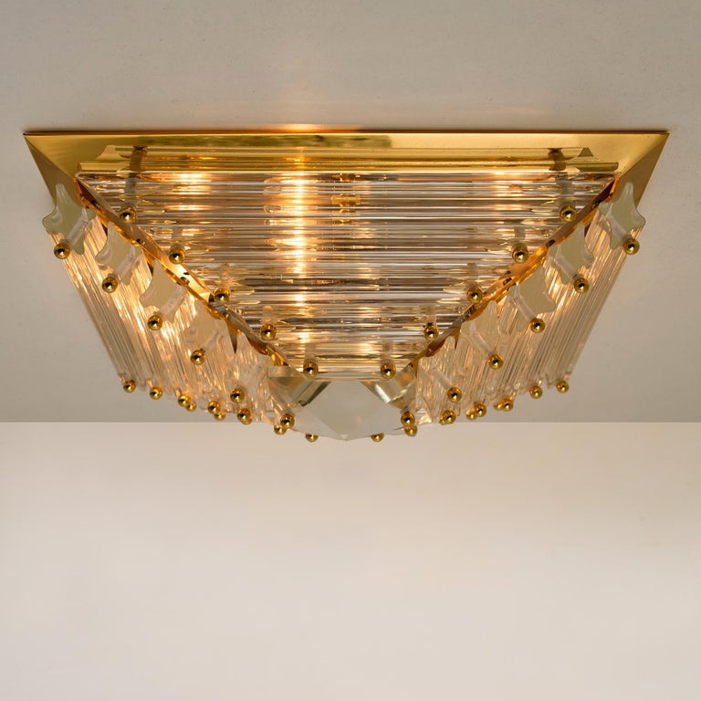 Set of Three Gold-Plated Piramide Venini Flushmounts, 1970s, Italy For Sale 1