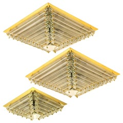 Set of Three Gold-Plated Piramide Venini Flush Mounts, 1970s, Italy