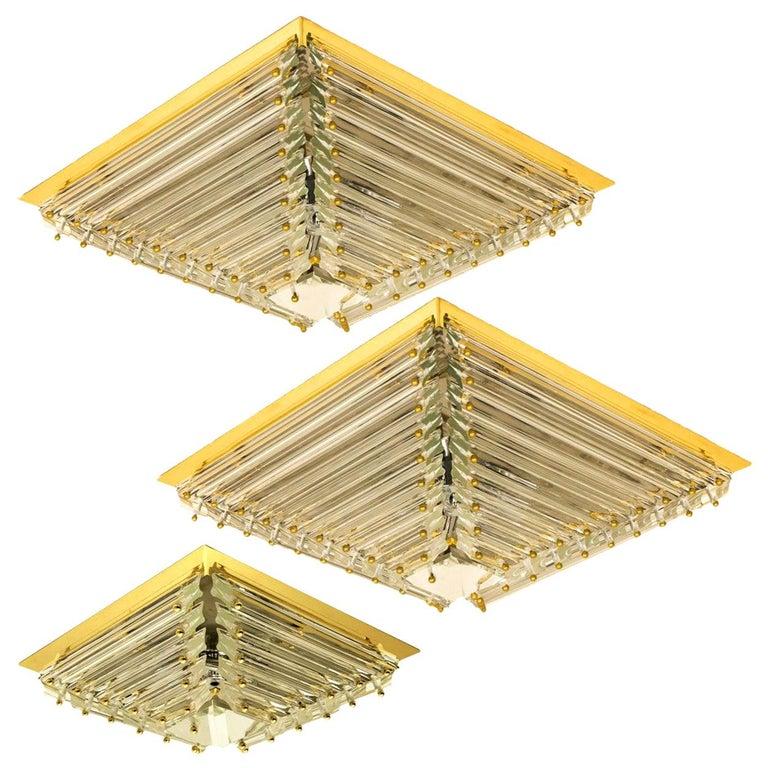 Set of Three Gold-Plated Piramide Venini Flush Mounts, 1970s, Italy For Sale