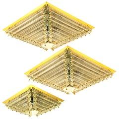 Set of Three Gold-Plated Piramide Venini Flush Mounts, 1970s, Italy
