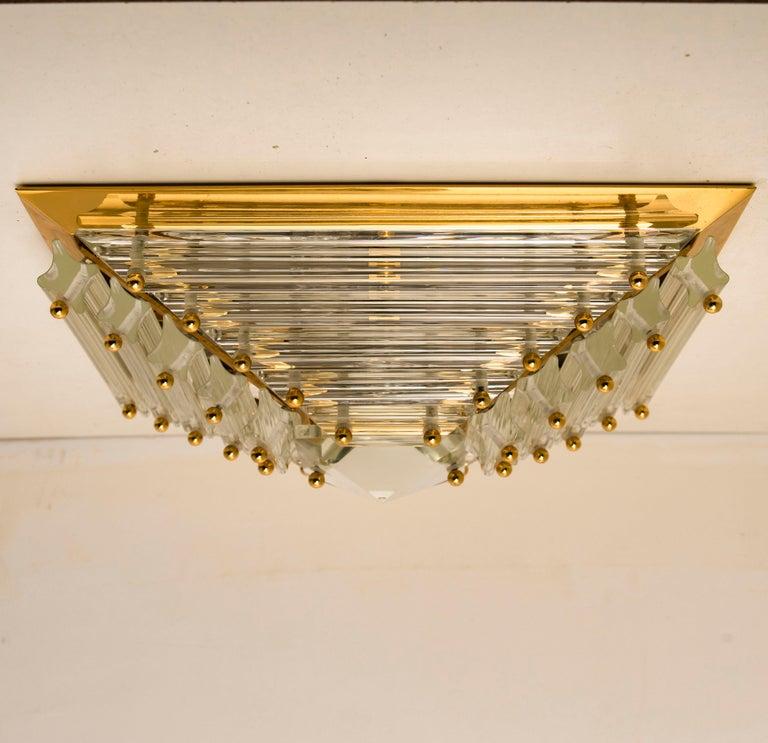 Set of Three Gold-Plated Piramide Venini Flushmounts, 1970s, Italy For Sale 9