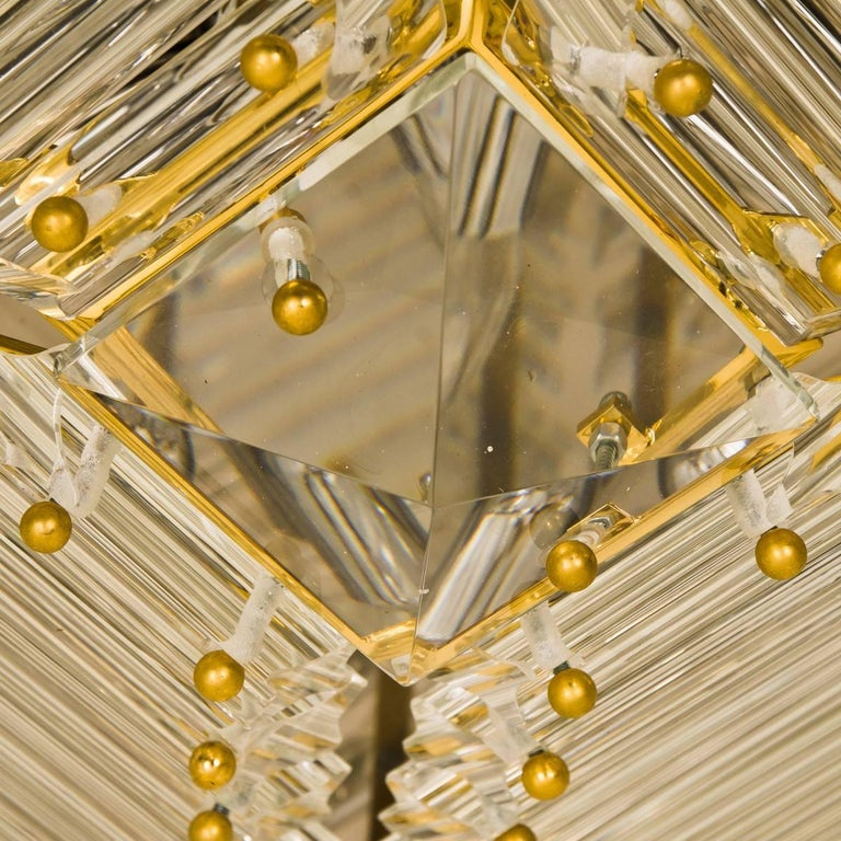 Italian Set of Three Gold-Plated Piramide Venini Flushmounts, 1970s, Italy For Sale